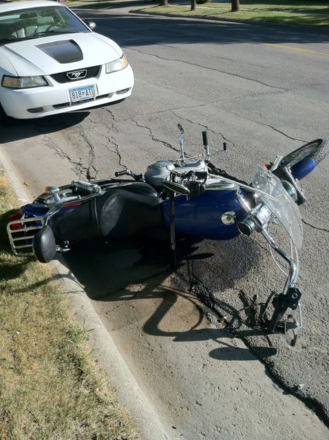 Harley lying on its side